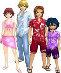 "Marcus Damon, Thomas H. Norstein, Yoshino ""Yoshi"" Fujieda, and Keenan Crier (Vacation Clothes) dm"