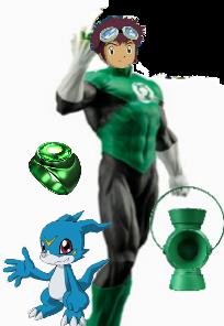 Green Lantern Davis and Veemon