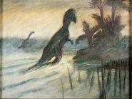 Fantasia Rite of Spring Dinosaur Courvoisier Concept Art (Walt Disney, 1940)