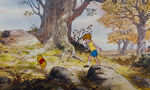 Winnie the Pooh and Christopher Robin are walking up a hill