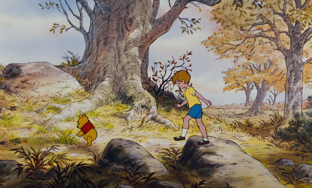 File:Winnie the Pooh and Christopher Robin are walking up a hill.jpg