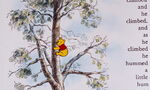 Winnie the Pooh is climbing up the honey tree