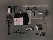 A farm in black and white