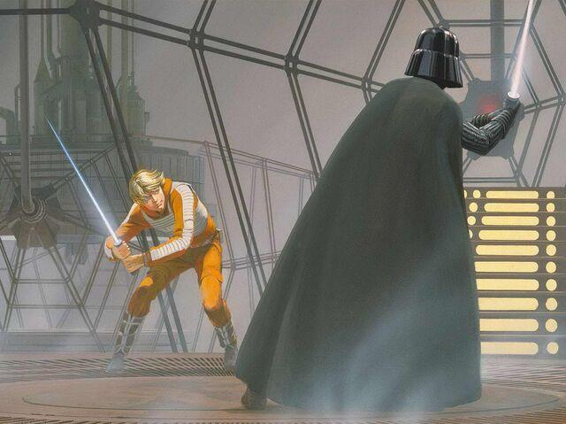 File:Ralph McQuarrie Luke VS Vader.jpg