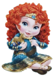 Young Merida with wood horse toy