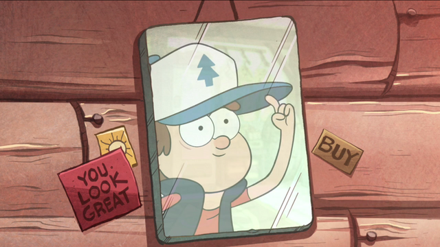 File:S1e1 dipper's reflection with hat.png