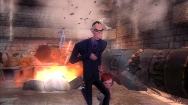 File:Dr. Calico dragging Penny in the Bolt Video Game.jpg