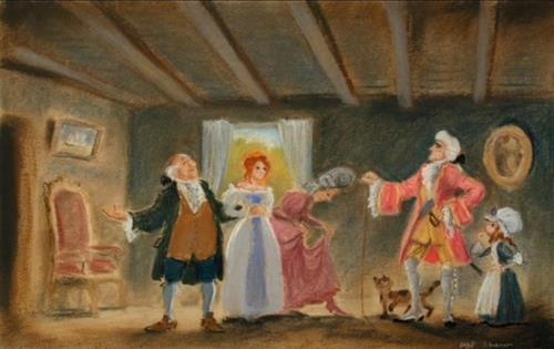 File:Gaston with Belle's Family.jpg