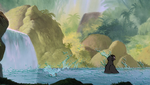 Baloo Floating and Mowgli Splashing