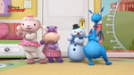 Four toy characters dancing2