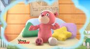 Pink teddy bear injured
