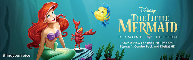 File:The Little Mermaid Diamond Edition Own It Now For The First Time On Blu Ray Combo Pack and Digital HD Banner.jpg