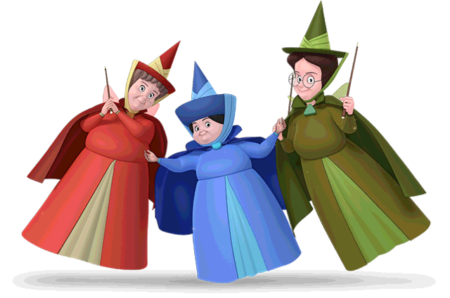 File:Flora, Fauna and Merryweather sofia models.png