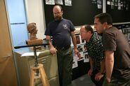 Jerome Ranft showing sculpture to John Lasseter & Lee Unkrich