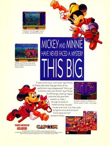 File:Great Circus Mystery Mickey Minnie video game print ad NickMag Dec Jan 1995.jpg