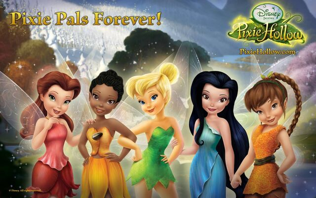 File:Tinkerbell and her friends from pixy hollow tinkerbell wallpapers.jpg