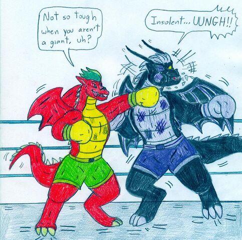 File:Boxing jake long vs dark dragon by jose ramiro-d5mwhz5.jpg