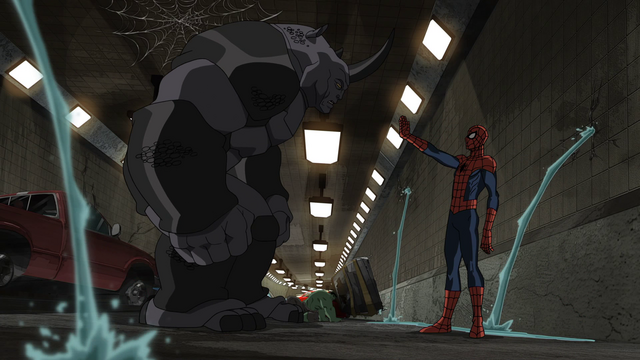 File:Spider-man tries to confort Rhino USMWW.png