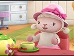 Lambie at tea party