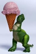 Rex holding a big ice cream cone