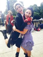 Cameron Boyce and Brenna D'Amico on the set of Descendants