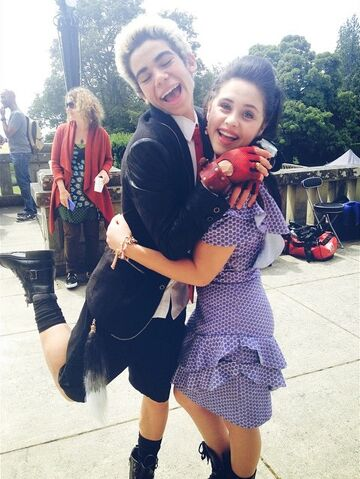File:Cameron Boyce and Brenna D'Amico on the set of Descendants.jpg