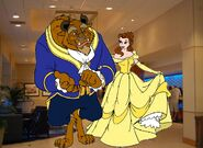 Belle and Beast is so Happy in Lobby at Disneyland Hotel
