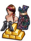 GoldDeal - 160906 - Glitterazzi Dress - Studded Bow Booties - Pink Streak Braid