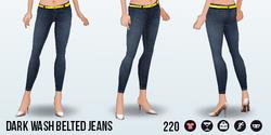 AprilShowers - Dark Wash Belted Jeans