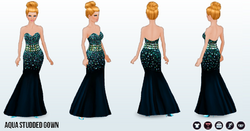 FashionWeek - Aqua Studded Gown