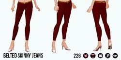 VineyardHarvestSpin - Belted Skinny Jeans red