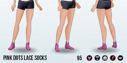 WarmByTheCoffee - Pink Dots Lace Socks