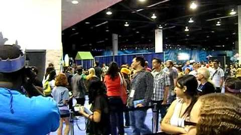 The Cast of Kickin' It leaving the signing booth at the 2011 D23 Expo.