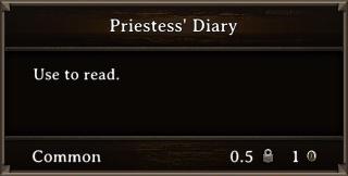 DOS Items Books Priestess' Diary Stats