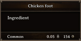 DOS Items CFT Magic Chicken Foot Bugged