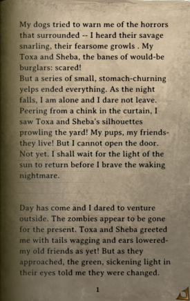 DOS Items Books Diary (zombie dogs) Page1