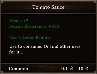 DOS Items Food Tomato Sauce Stats