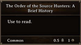 DOS Items Books The Order Of The Source Hunters A Brief History