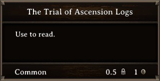 DOS Items Books The Trial of Ascension Logs Stats