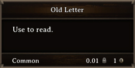 DOS Items Quest Old Letter