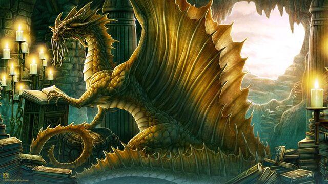 File:Golden dragon reading the notes.jpg