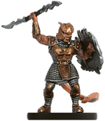 male tiefling miniature with armor, helmet, spear and shield