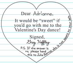 Candy Grams written to Adrianne and Julia