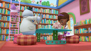Doc, lambie, chilly and hallie at the library