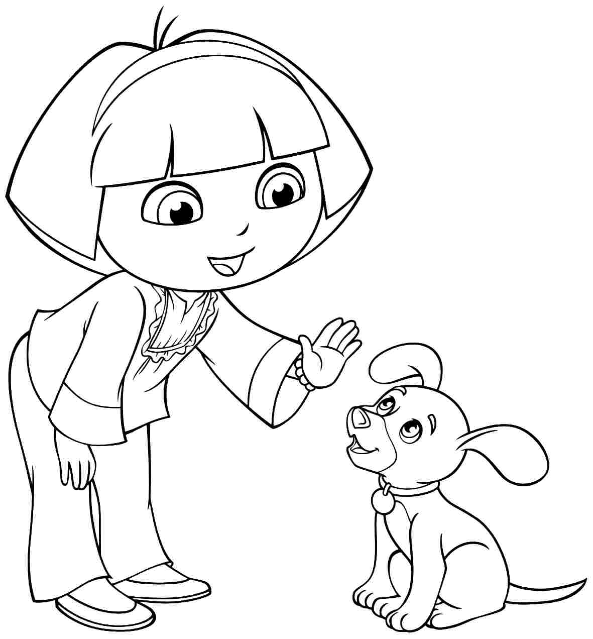 image cartoon dora the explorer and friends coloring pages for