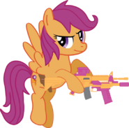 Scootaloo with her weapons