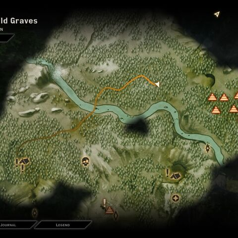 To find great bears, follow this path from Gracevine Camp in the Emerald Graves. After killing one, quick travel back to camp and repeat.