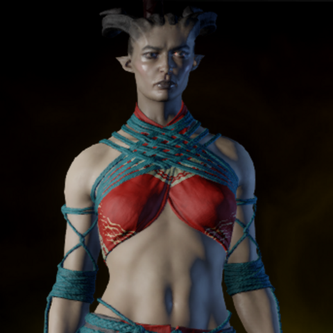 A female Qunari wearing the armor