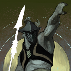 Tarot Card of a Qunari warrior of the Antaam