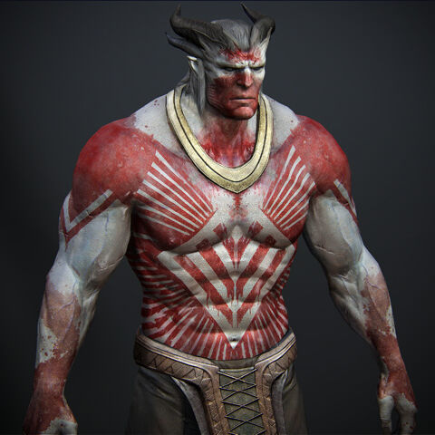 Qunari covered with war paint.